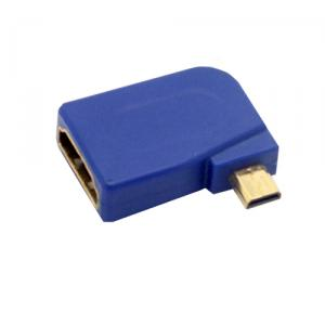 left angled micro HDMI male to HDMI female adapter, Blue
