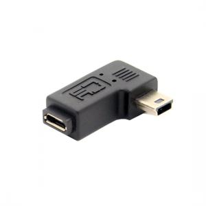 Right angled Mini USB male to Micro USB female adapter