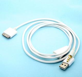 White Dock to AUX 3.5mm Car Audio Cable with USB Port for iPod 3 Touch iPhone 4S