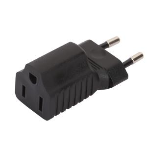 European 2 Pin Male to USA 3Pole Female AC Adapter,