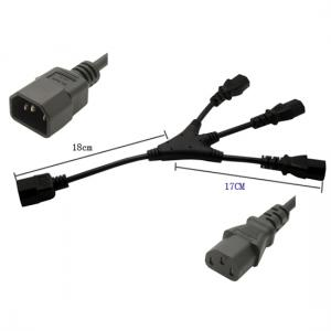 IEC 320 C14 to 3X C13 Y split cord 1ft