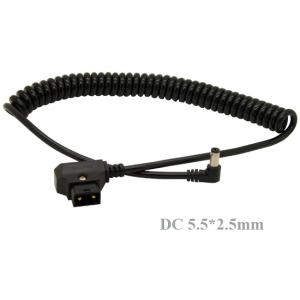Coiled D-Tap Male to Right angle DC 5.5x2.5mm Cable for DSLR Rig Power V-Mount Anton Battery